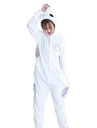 Kigurumi Pijamas Ocasiões Especiais Branco Flanela Fantasias de Cosplay Kigurumi Malha Collant / Pijama Macacão Cosplay Festival /