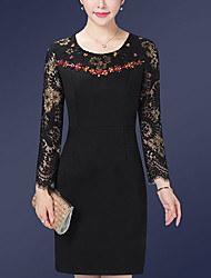 cheap -Women's Plus Size Bodycon Sheath Dress - Solid Colored Lace Beaded
