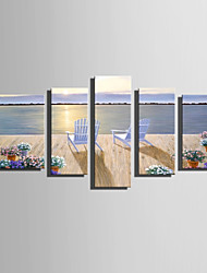 cheap -E-HOME Stretched Canvas Art  Romantic Holiday Decoration Painting Set Of 5