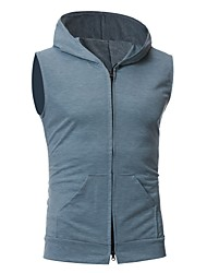 cheap -Men's Daily Simple Casual Summer Fall Vest,Solid Hooded Sleeveless Regular Cotton