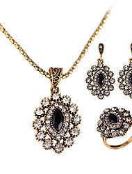 cheap -Women's Synthetic Diamond Jewelry Set - Crystal Luxury, Classic, Vintage Include Drop Earrings / Pendant Necklace / Ring Gold For Christmas / Party / Evening Party