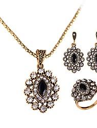 Mulheres Brincos Compridos Colares com Pendentes Anel Diamante sintético Vintage Jóias de Luxo Bijuterias Destaque Chrismas Clássico