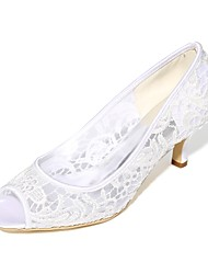 cheap -Women's Wedding Shoes Basic Pump Spring Summer Lace Net Wedding Party & Evening Stiletto Heel Ivory Blushing Pink Black White 2in-2 3/4in