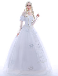 Princess Queen Cosplay Costume Masquerade Party Costume Movie Cosplay White Dress Petticoat Wig Christmas Halloween Carnival New Year