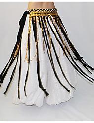 Dança do Ventre Lenços de Quadril para Dança do Ventre Mulheres Apresentação Poliéster Metal Adornos 1 Peça Xale de Dança do Ventre