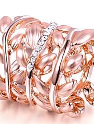 Dámské Široké prsteny Křišťál Přizpůsobeno Luxus Klasické Základní Sexy láska Módní Cute Style Elegantní Křišťál Slitina Leaf Shape Šperky