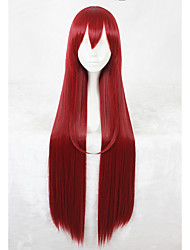cheap -Synthetic Wig Straight Synthetic Hair Faux Locs Wig Red Wig Long Capless