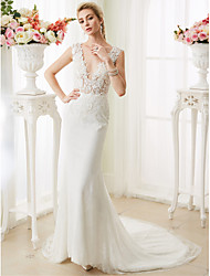 cheap -Mermaid / Trumpet Plunging Neckline Court Train Lace Custom Wedding Dresses with Pearl Appliques by LAN TING BRIDE®