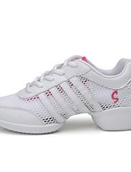 """Femme Baskets de Danse Vrai cuir Tulle Basket Extérieur Verso creux hors Plat Rose et blanc 1 """"- 1 3/4"""" Personnalisables"""