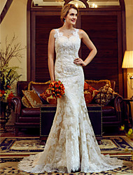 cheap -Mermaid / Trumpet V-neck Court Train Lace Satin Wedding Dress with Lace Sash / Ribbon Button by LAN TING BRIDE®