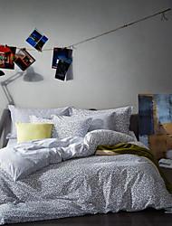 abordables -Géométrique 4 Pièces Coton Imprimé Coton 1 x Housse de couette 2 x Taies d'oreiller brodées 1 x Drap housse