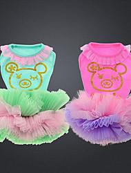 economico -Gatto Cane Vestiti Abbigliamento per cani Casual Orso Verde Rosa Costume Per animali domestici