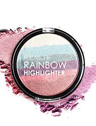 cheap -1Pcs Rainbow Highlighter Powder Palette Bronzer Contour Soft Mineral Face Highlighter Makeup