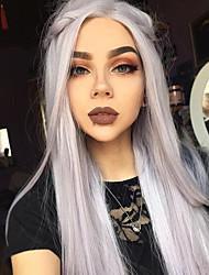 Недорогие -Синтетические кружевные передние парики Прямой Искусственные волосы Волосы с окрашиванием омбре Серый Парик Жен. Длинные Лента спереди