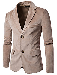 Men's Work Simple Fall Blazer,Solid Peaked Lapel Long Sleeve Regular Cotton