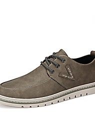 cheap -Men's Sneaker Driving Shoe Comfort Light Sole Fall Winter Oxford PU Casual Office & Career Lace-up Flat Heel Khaki Coffee Black Flat