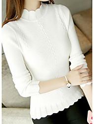 Standard Pullover Da donna-Casual Tinta unita Girocollo Manica lunga Cotone Autunno Inverno Medio spessore Media elasticità