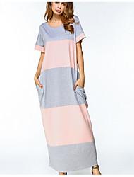cheap -Women's Going out Cotton Jalabiya Dress - Striped Maxi