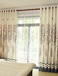 Rod Pocket Grommet Top Tab Top Double Pleated Pencil Pleated Curtain Botanical Bedroom Material Curtains Drapes Home Decoration For Window