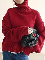 abordables -Femme simple Manches Longues Pullover - Couleur Pleine Col Roulé