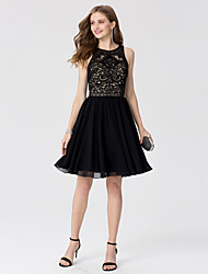 cheap -A-Line Princess Jewel Neck Knee Length Chiffon Lace Cocktail Party Dress with Crystal Detailing by TS Couture®