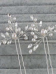 cheap -Imitation Pearl Rhinestone Hair Pin with Faux Pearl 2pcs Wedding Special Occasion Headpiece