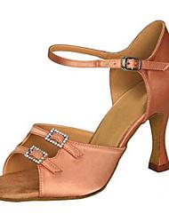 "Women's Latin Silk Sandals Performance Buckle Crystals/Rhinestones Cuban Heel Almond Brown 2"" - 2 3/4"" Customizable"