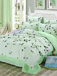Floreale 4 pezzi Cotone Cotone 1 Copripiumino Copri cuscino (2 pz.) Lenzuolo (1 pz.)