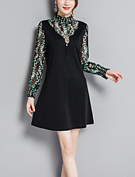 Women's Plus Size Going out Street chic A Line Loose Dress Print Patchwork False Two Stand Above Knee Long Sleeves Spring Fall