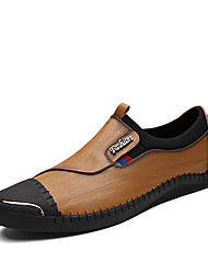 Men's Loafers & Slip-Ons Light Soles Fall Winter Real Leather Cowhide Wedding Casual Party & Evening Office & Career Black Khaki 1in-1