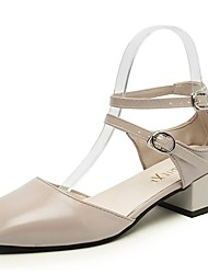 Damen High Heels T-Riemen Herbst PU Normal Niedriger Absatz Schwarz Hautfarben 5 - 7 cm