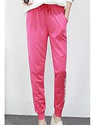 Da donna A vita medio-alta Semplice Media elasticità Pantaloni della tuta Pantaloni,Taglia piccola Tinta unita Alfabetico