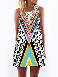 baratos -Mulheres Solto Vestido Geométrica Cintura Alta