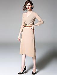 Fodero Vestito Da donna-Per uscire Casual Moda città Tinta unita A V Medio Manica a 3/4 Pelliccia di coniglio Rayon Nylon Estate AutunnoA