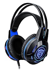 cheap -K1 Headband Wired Headphones Dynamic Plastic Gaming Earphone with Volume Control with Microphone Luminous Headset