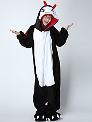 cheap -Kigurumi Pajamas Devil Onesie Pajamas Costume Flannelette Black/White Cosplay For Adults' Animal Sleepwear Cartoon Halloween Festival /