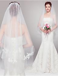 baratos -Duas Camadas Corte da borda Véus de Noiva Véu Ruge Véu Cotovelo Com Pérolas Tule