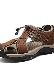preiswerte -Herren Schuhe Echtes Leder Nappaleder Leder Sommer Komfort Sandalen Wasser-Schuhe Klettverschluss Für Normal Braun Blau Khaki