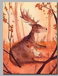 Peint à la main Animal Format Vertical,Artistique Inspiré de la nature Rustique Moderne/Contemporain Bureau / Affaires Noël Nouvel An Un