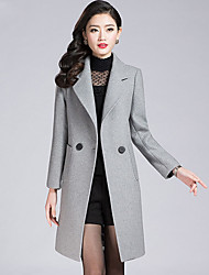 cheap -Women's Wool Trench Coat - Solid Colored V Neck