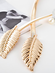 cheap -gold silvery leaf shape Wedding designer Elastic belts for women girlStretch Skinny Waist Belt Cummerbunds metal female belt