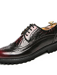 cheap -Men's Formal Shoes Leather Fall / Winter Oxfords Walking Shoes Black / Yellow / Red / Wedding / Party & Evening / Brogue / Dress Shoes
