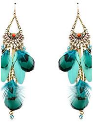 Dame Dråbeøreringe Vintage Personaliseret Overdimensionerede Mode Legering Fjer Smykker Til Anden Stadie I-byen-tøj