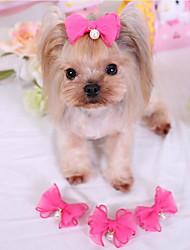 baratos -Cachorro Acessórios de Cabelo Roupas para Cães Laço Fúcsia / Rosa claro / Azul Claro Tecido Ocasiões Especiais Para animais de estimação Homens / Mulheres Casual