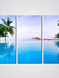 billige -Strukket Lærred Print Tre Paneler Lærred Horisontal Print Vægdekor Hjem Dekoration