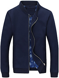 cheap -Men's Simple Casual Plus Size Cotton Jacket-Solid Colored Stand