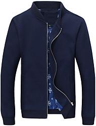Для мужчин На каждый день Большие размеры Осень Зима Куртка Воротник-стойка,Простой Однотонный Обычная Длинный рукав,Хлопок Полиэстер