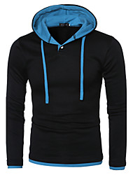 Men's Going out Casual/Daily Simple Active Street chic Hoodie Color Block Patchwork Hooded Micro-elastic Polyester Spandex Long Sleeve