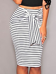 cheap -Women's Work Bodycon Skirts - Striped Color Block, Bow