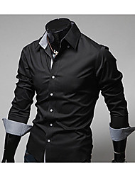cheap -Men's Daily Going out Work Street chic All Seasons Shirt,Color Block Classic Collar Long Sleeves Polyester